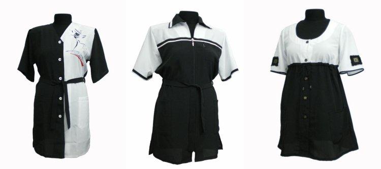 Интересные черно-белые фасоны парикмахерских халатов
