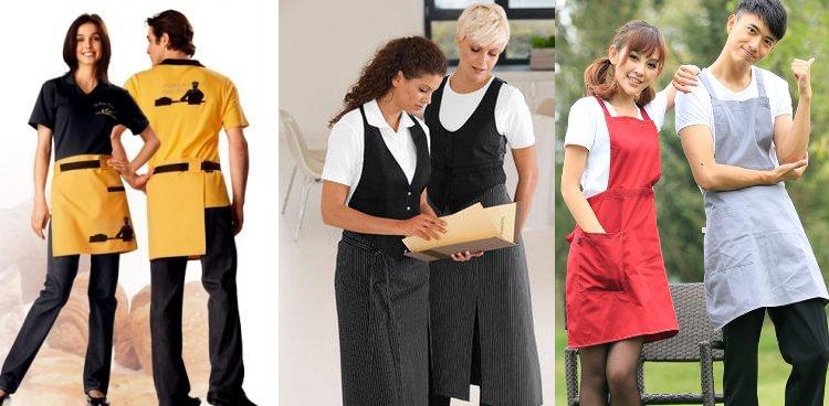 Три модели фартуков для официантов - короткий, длинный и с нагрудником