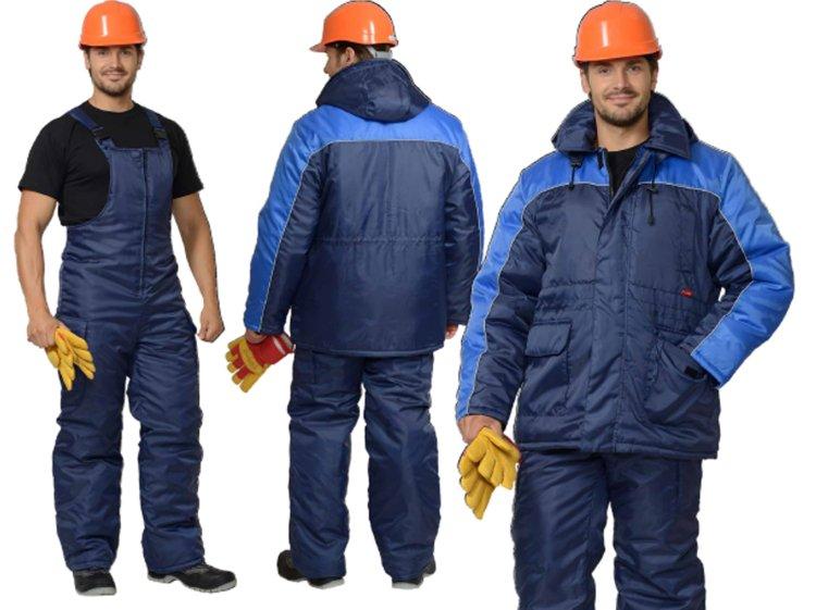 Зимний мужской полукомбинезон и куртка как комплект спецодежды