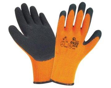 Утепленные зимние латексно-каучуковые рабочие перчатки